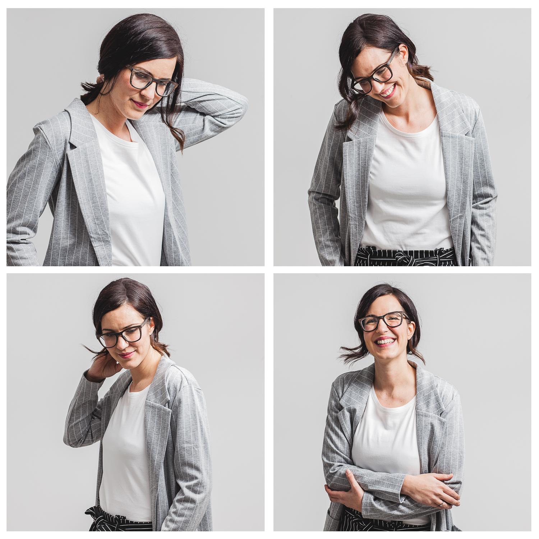 Kollage Businessportraits. 4 Fotos von junger Frau im Businessoutfit.